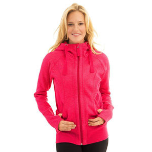 ACTIVE LIFE Heathered Full Zip Hooded Pink Sweater